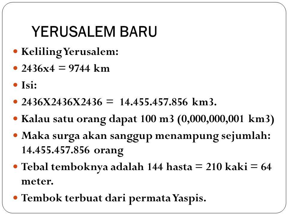 YERUSALEM BARU Keliling Yerusalem: 2436x4 = 9744 km Isi: 2436X2436X2436 = 14.455.457.856 km3. Kalau satu orang dapat 100 m3 (0,000,000,001 km3) Maka s