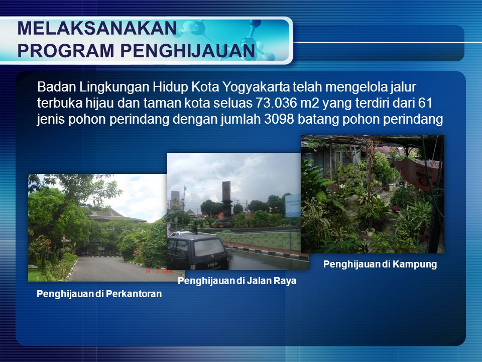 Badan Lingkungan Hidup Kota Yogyakarta telah mengelola jalur terbuka hijau dan taman kota seluas 73.036 m2 yang terdiri dari 61 jenis pohon perindang
