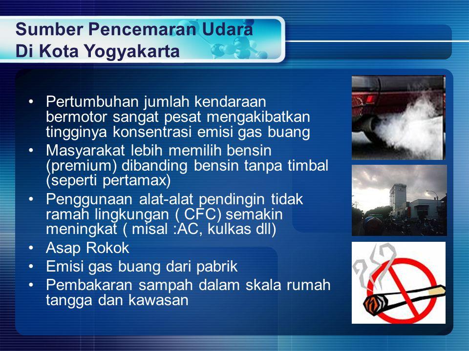 Sumber Pencemaran Udara Di Kota Yogyakarta Pertumbuhan jumlah kendaraan bermotor sangat pesat mengakibatkan tingginya konsentrasi emisi gas buang Masy