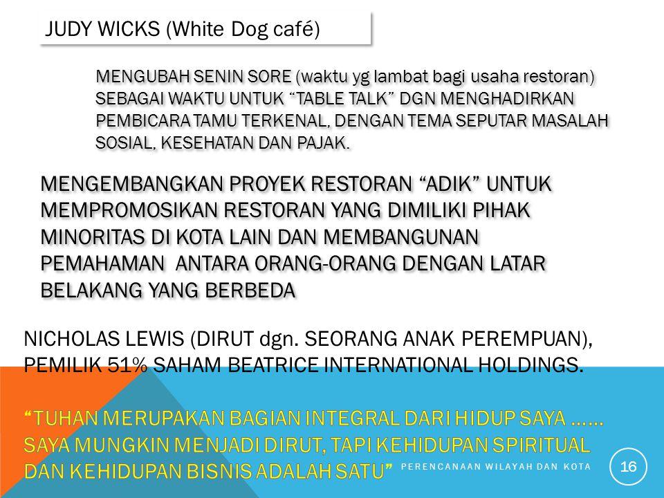 PERENCANAAN WILAYAH DAN KOTA 16 JUDY WICKS (White Dog café) MENGUBAH SENIN SORE (waktu yg lambat bagi usaha restoran) SEBAGAI WAKTU UNTUK TABLE TALK DGN MENGHADIRKAN PEMBICARA TAMU TERKENAL, DENGAN TEMA SEPUTAR MASALAH SOSIAL, KESEHATAN DAN PAJAK.