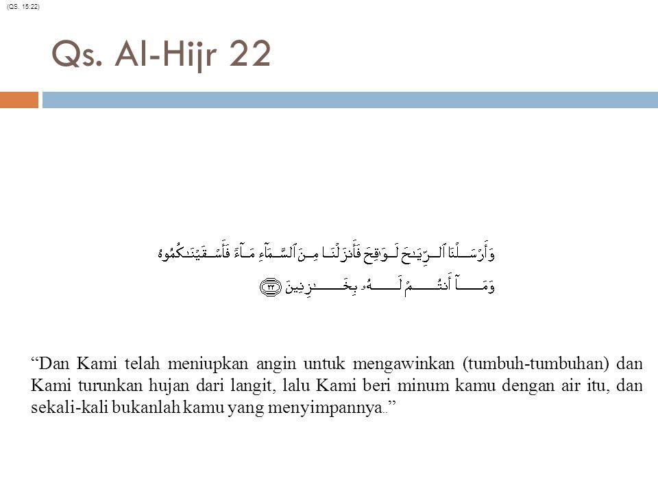 """Qs. Al-Hijr 22 """"Dan Kami telah meniupkan angin untuk mengawinkan (tumbuh-tumbuhan) dan Kami turunkan hujan dari langit, lalu Kami beri minum kamu deng"""