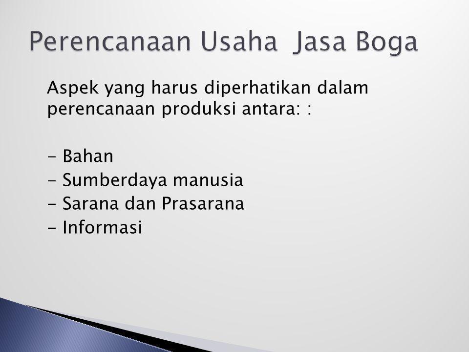 Aspek yang harus diperhatikan dalam perencanaan produksi antara: : - Bahan - Sumberdaya manusia - Sarana dan Prasarana - Informasi