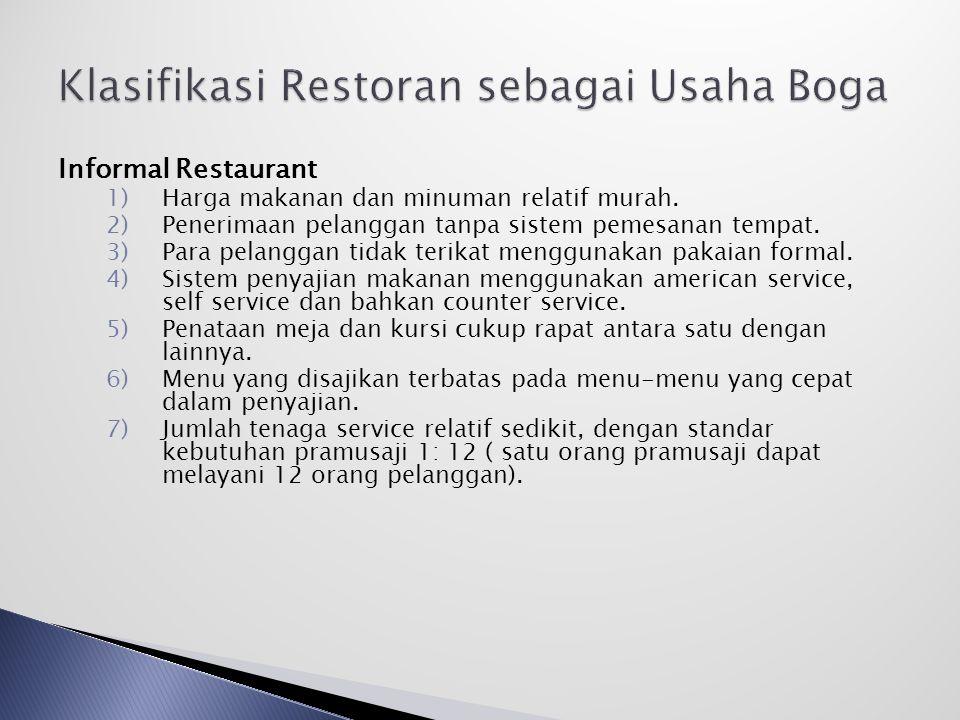 Informal Restaurant 1)Harga makanan dan minuman relatif murah.