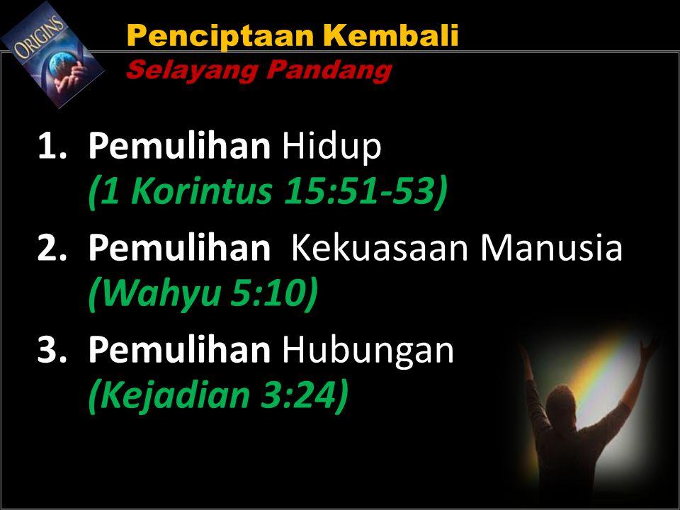 Penciptaan Kembali Selayang Pandang 1. Pemulihan Hidup (1 Korintus 15:51-53) 2. Pemulihan Kekuasaan Manusia (Wahyu 5:10) 3. Pemulihan Hubungan (Kejadi