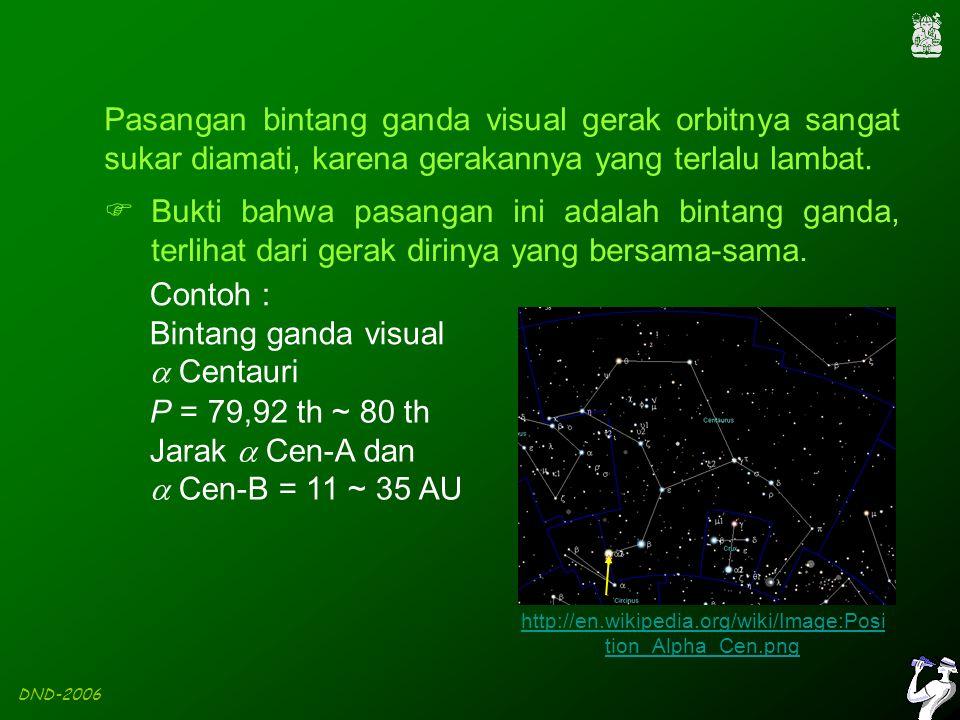 DND-2006 Pasangan bintang ganda visual gerak orbitnya sangat sukar diamati, karena gerakannya yang terlalu lambat.