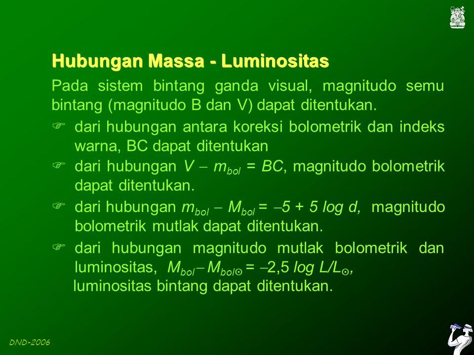 DND-2006 Hubungan Massa - Luminositas Pada sistem bintang ganda visual, magnitudo semu bintang (magnitudo B dan V) dapat ditentukan.