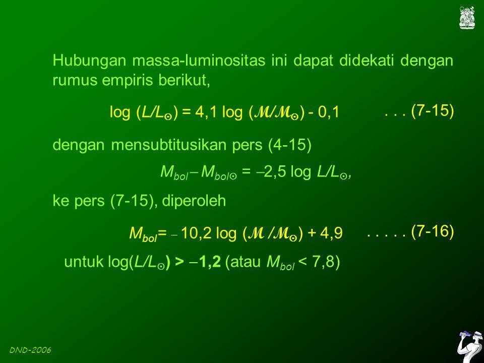 DND-2006 Hubungan massa-luminositas ini dapat didekati dengan rumus empiris berikut, log (L/L  ) = 4,1 log ( M / M  ) - 0,1...