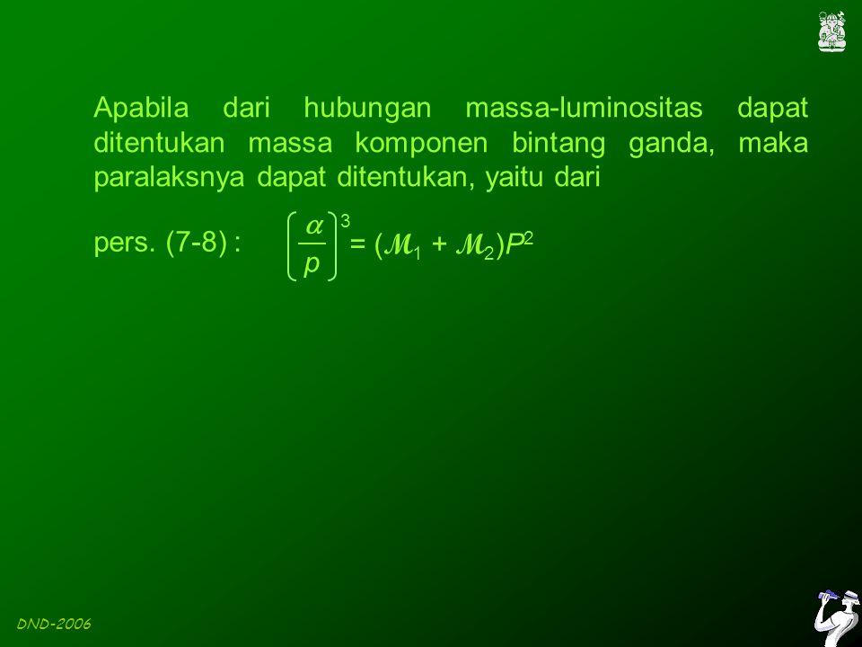 DND-2006 Apabila dari hubungan massa-luminositas dapat ditentukan massa komponen bintang ganda, maka paralaksnya dapat ditentukan, yaitu dari pers.