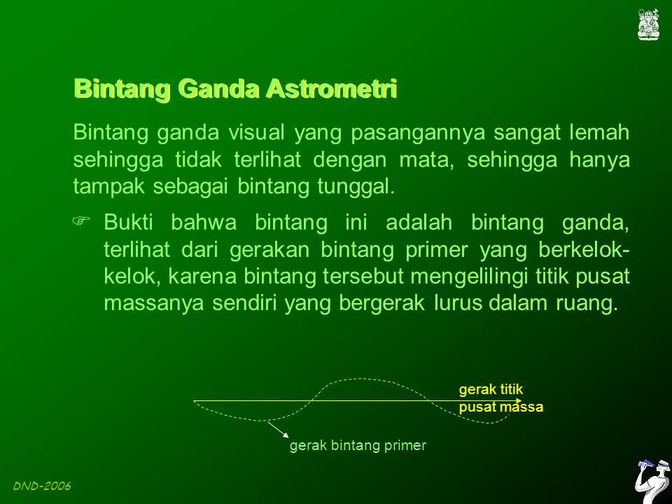 DND-2006 Bintang Ganda Astrometri Bintang ganda visual yang pasangannya sangat lemah sehingga tidak terlihat dengan mata, sehingga hanya tampak sebagai bintang tunggal.