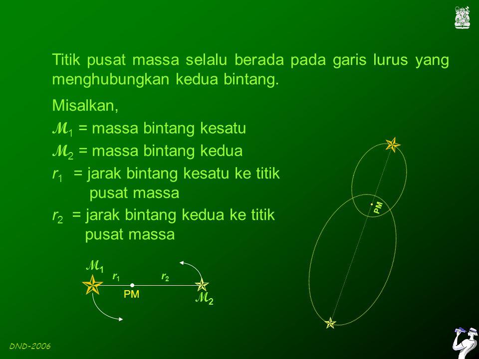 DND-2006 PM Titik pusat massa selalu berada pada garis lurus yang menghubungkan kedua bintang.