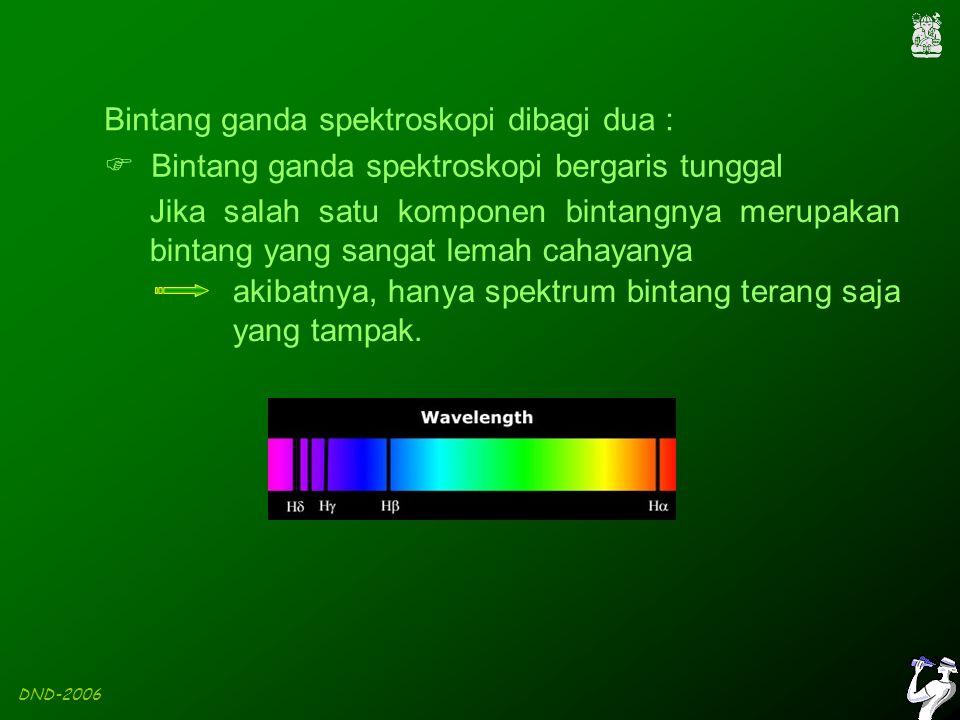 DND-2006 Bintang ganda spektroskopi dibagi dua :  Bintang ganda spektroskopi bergaris tunggal Jika salah satu komponen bintangnya merupakan bintang yang sangat lemah cahayanya akibatnya, hanya spektrum bintang terang saja yang tampak.