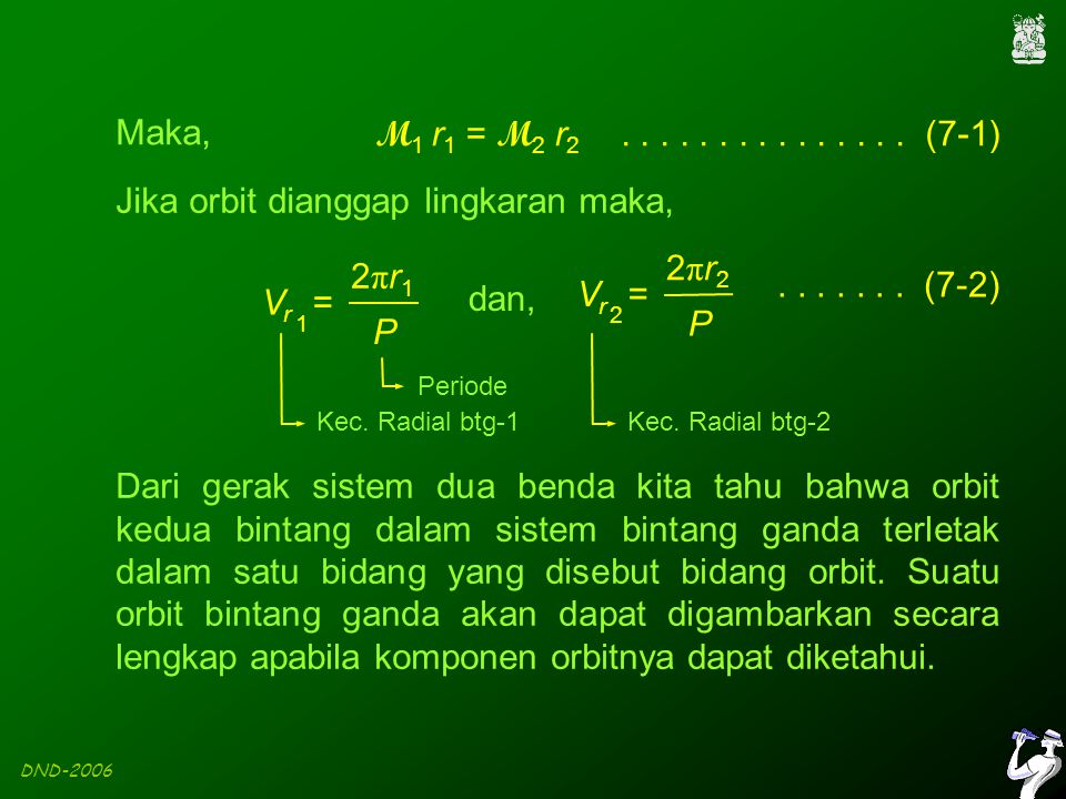 DND-2006 ω = bujur periastron (sudut di bidang orbit mulai dari garis node ke periastron  = kedudukan garis node (sudut di bidang langit dari utara ke garis node) i Ω ω periastron garis node utara pengamat bidang langit a = setengah sumbu besar Komponen orbit bintang ganda a i = inklinasi bidang orbit terhadap bidang langit titik fokus garis node : garis potong antara bidang orbit dengan bidang langit yang melewati titik fokus elips.