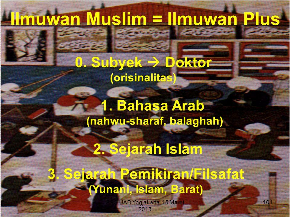 PPS UAD Yogjakarta, 15 Maret 2013 Ilmuwan Muslim = Ilmuwan Plus 0. Subyek  Doktor (orisinalitas) 1. Bahasa Arab (nahwu-sharaf, balaghah) 3. Sejarah P