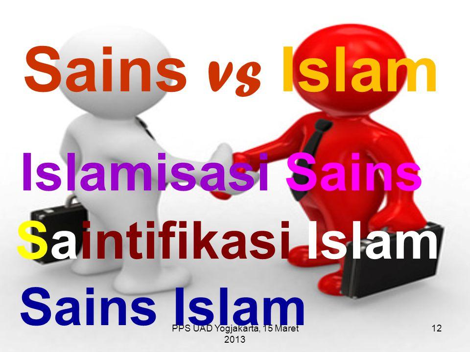 PPS UAD Yogjakarta, 15 Maret 2013 Sains vs Islam Islamisasi Sains Saintifikasi Islam Sains Islam 12