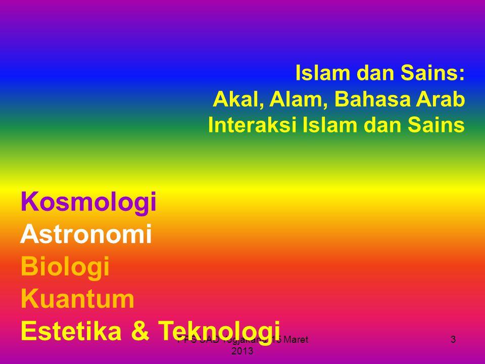 Kosmologi Astronomi Biologi Kuantum Estetika & Teknologi Islam dan Sains: Akal, Alam, Bahasa Arab Interaksi Islam dan Sains 3