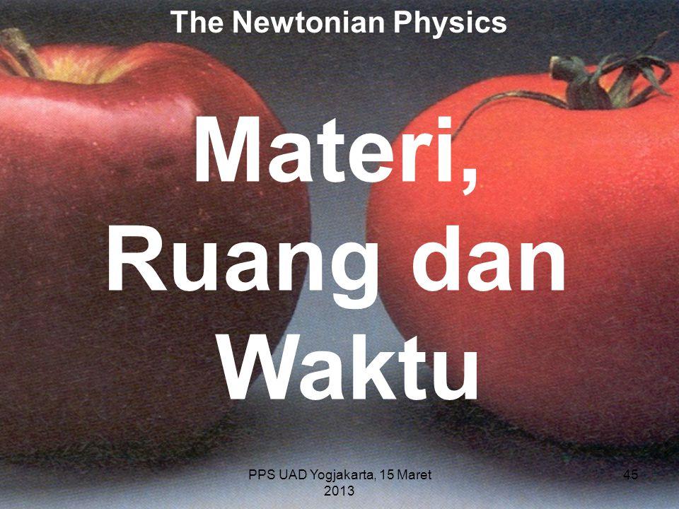 PPS UAD Yogjakarta, 15 Maret 2013 The Newtonian Physics Materi, Ruang dan Waktu 45