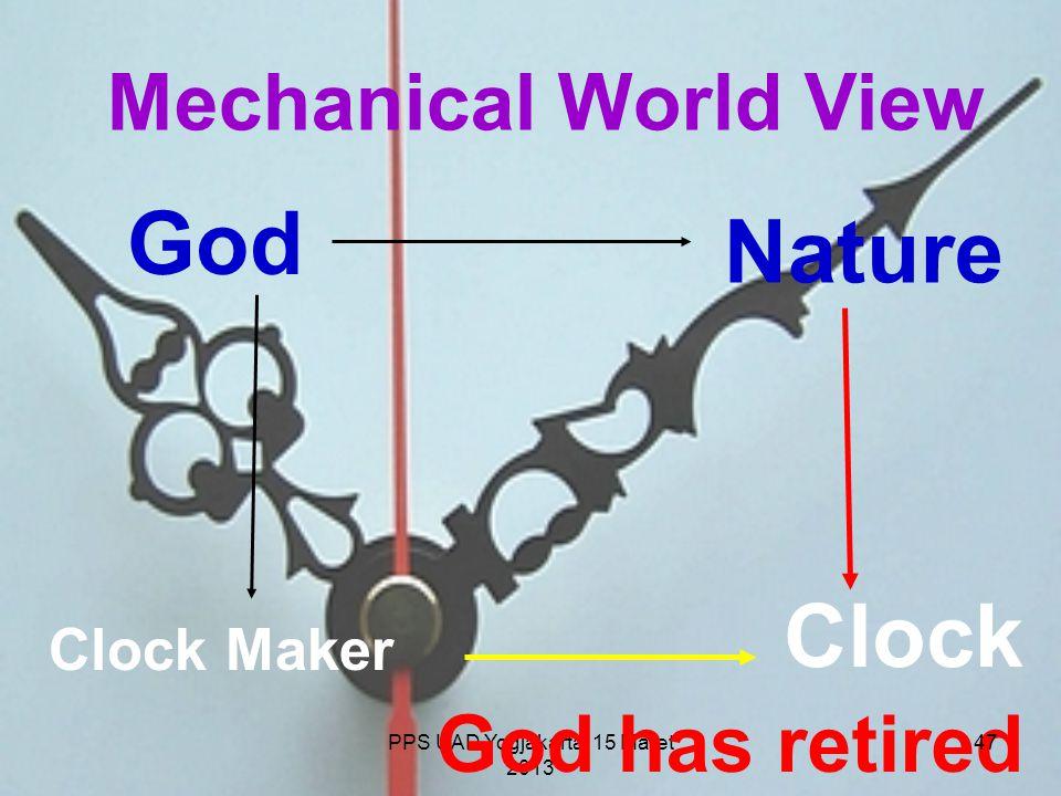 PPS UAD Yogjakarta, 15 Maret 2013 Mechanical World View Clock Maker Clock God Nature God has retired 47