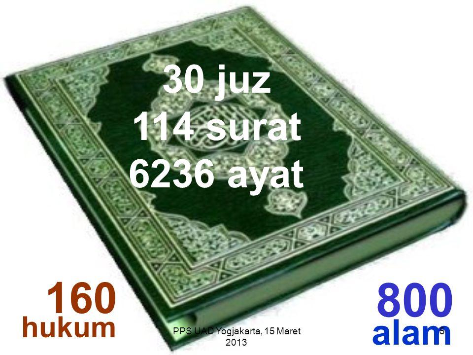 160 800 alam hukum PPS UAD Yogjakarta, 15 Maret 2013 30 juz 114 surat 6236 ayat 5