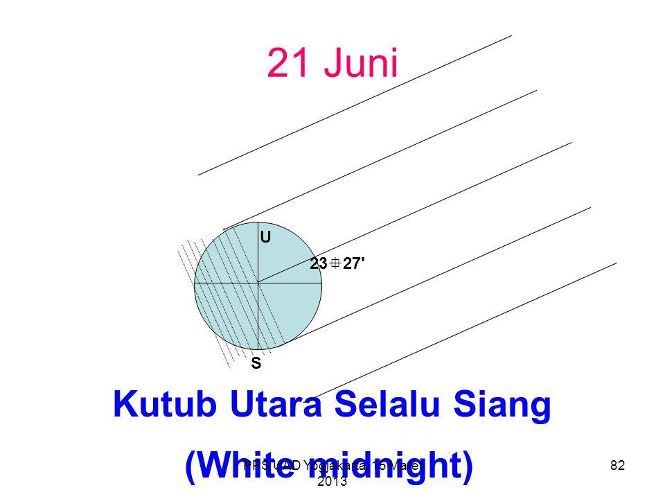 21 Juni Kutub Utara Selalu Siang U S 23  27' (White midnight) PPS UAD Yogjakarta, 15 Maret 2013 82