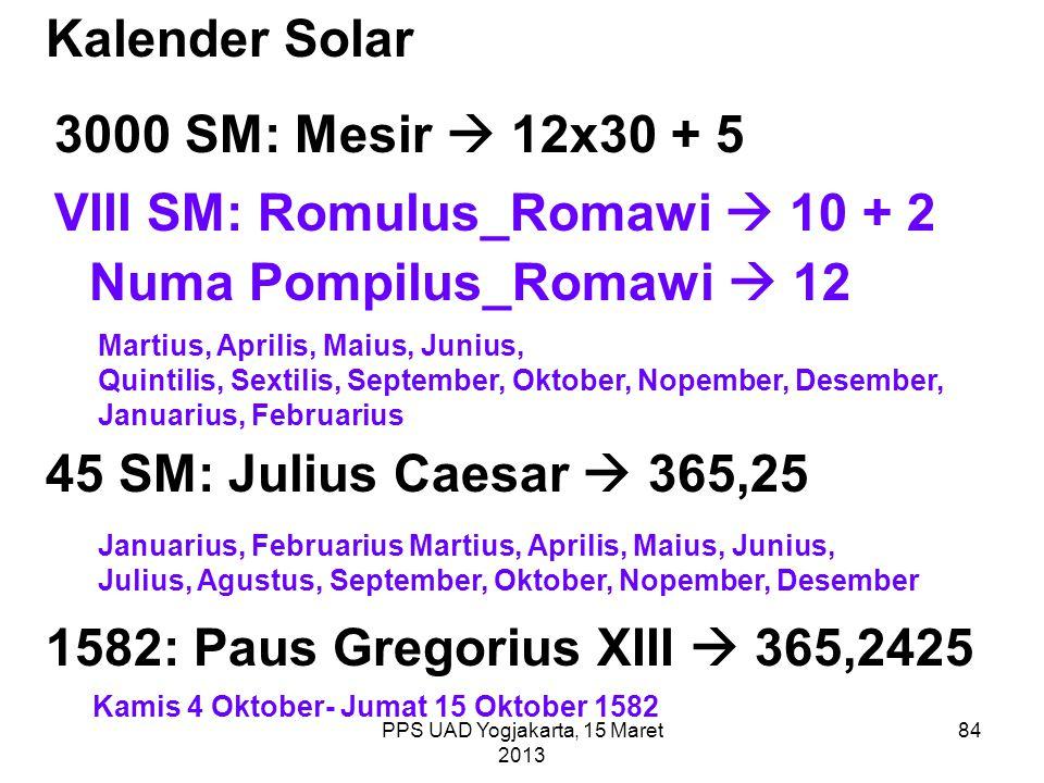 Kalender Solar 3000 SM: Mesir  12x30 + 5 VIII SM: Romulus_Romawi  10 + 2 Numa Pompilus_Romawi  12 Martius, Aprilis, Maius, Junius, Quintilis, Sexti