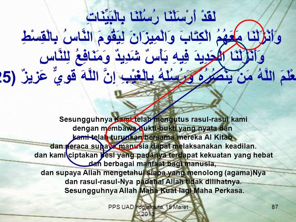 PPS UAD Yogjakarta, 15 Maret 2013 لَقَدْ أَرْسَلْنَا رُسُلَنَا بِالْبَيِّنَاتِ وَأَنْزَلْنَا مَعَهُمُ الْكِتَابَ وَالْمِيزَانَ لِيَقُومَ النَّاسُ بِال