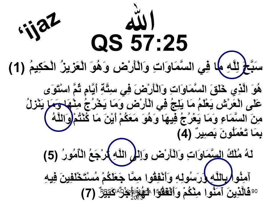 PPS UAD Yogjakarta, 15 Maret 2013 QS 57:25 الله سَبَّحَ لِلَّهِ مَا فِي السَّمَاوَاتِ وَالْأَرْضِ وَهُوَ الْعَزِيزُ الْحَكِيمُ (1) هُوَ الَّذِي خَلَقَ