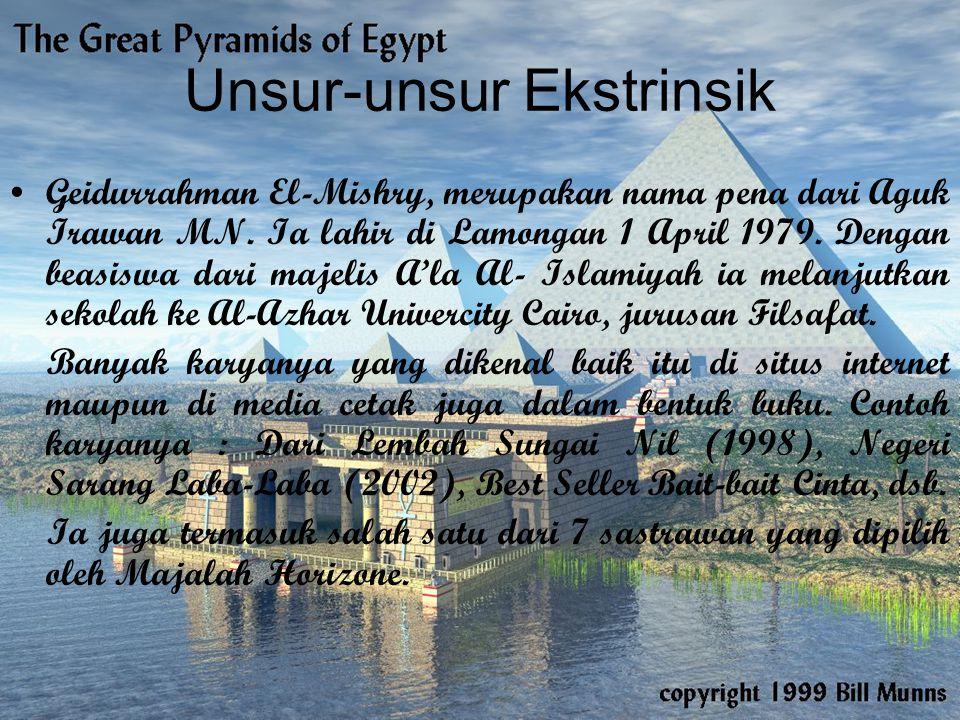Unsur-unsur Ekstrinsik Geidurrahman El-Mishry, merupakan nama pena dari Aguk Irawan MN. Ia lahir di Lamongan 1 April 1979. Dengan beasiswa dari majeli