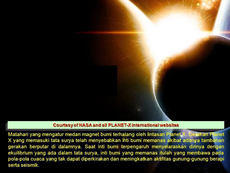 Matahari yang mengatur medan magnet bumi terhalang oleh lintasan Planet X. Gerakan Planet X yang memasuki tata surya telah menyebabkan inti bumi meman