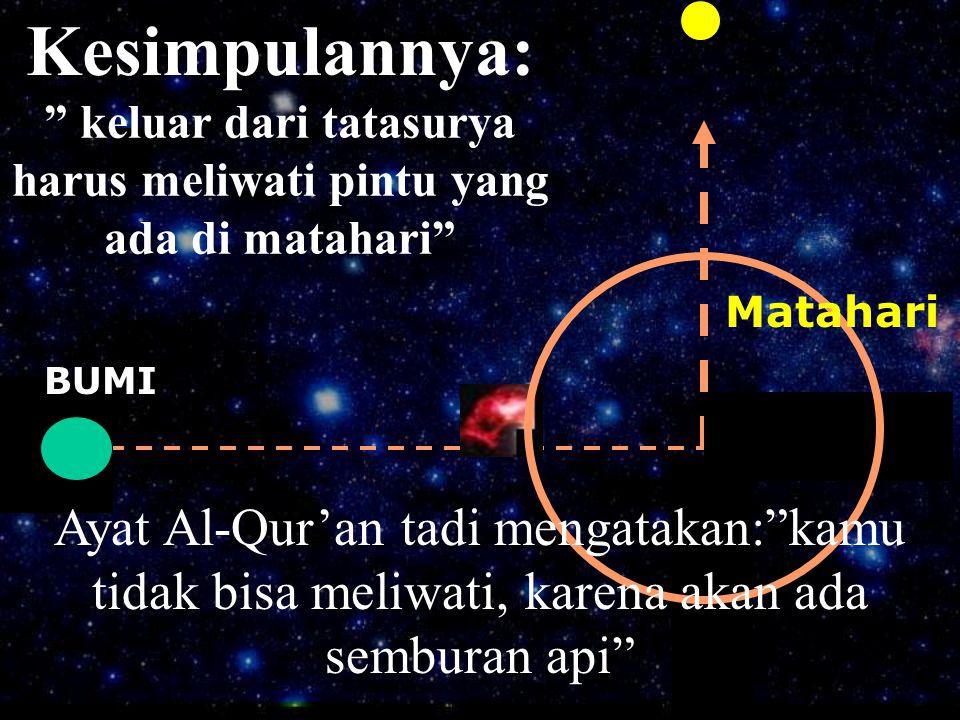 """Kesimpulannya: Ayat Al-Qur'an tadi mengatakan:""""kamu tidak bisa meliwati, karena akan ada semburan api"""" Matahari BUMI """" keluar dari tatasurya harus mel"""