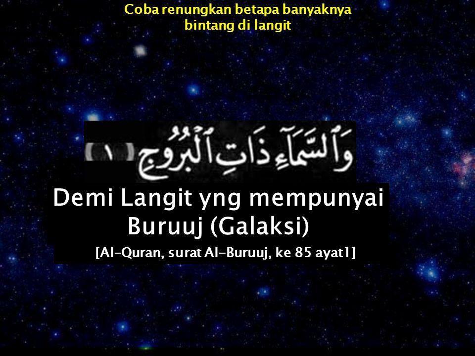 Coba renungkan betapa banyaknya bintang di langit Demi Langit yng mempunyai Buruuj (Galaksi) [Al-Quran, surat Al-Buruuj, ke 85 ayat1]