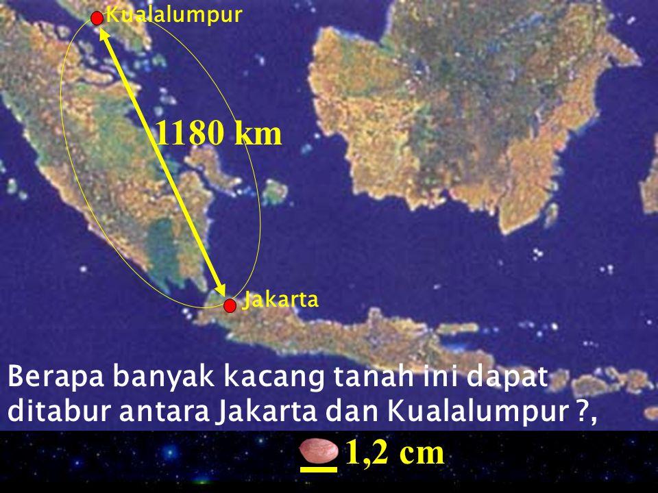 Kualalumpur Jakarta Berapa banyak kacang tanah ini dapat ditabur antara Jakarta dan Kualalumpur ?, 1180 km 1,2 cm