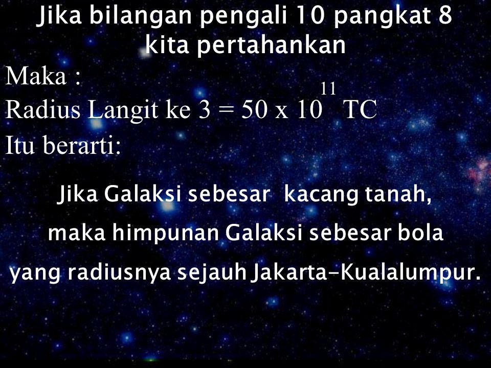 Jika bilangan pengali 10 pangkat 8 kita pertahankan Maka : Radius Langit ke 3 = 50 x 10 TC 11 Itu berarti: Jika Galaksi sebesar kacang tanah, maka him