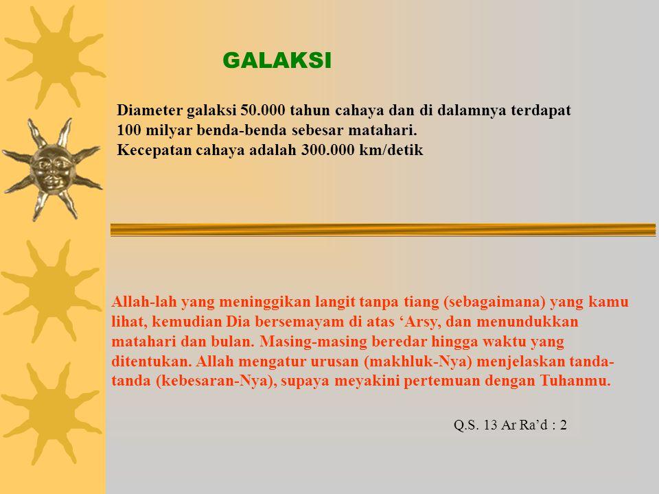 Diameter galaksi 50.000 tahun cahaya dan di dalamnya terdapat 100 milyar benda-benda sebesar matahari.