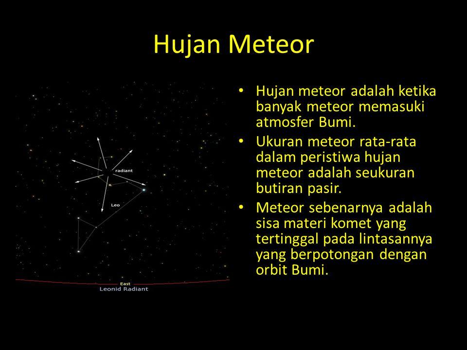 Hujan Meteor Hujan meteor adalah ketika banyak meteor memasuki atmosfer Bumi. Ukuran meteor rata-rata dalam peristiwa hujan meteor adalah seukuran but