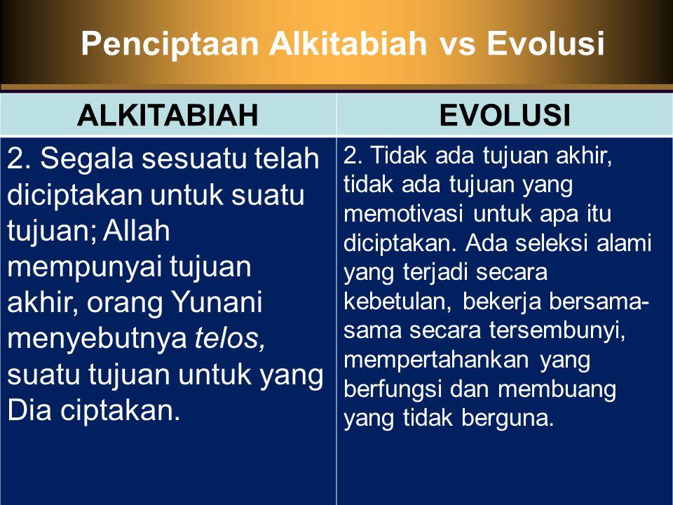 Penciptaan Alkitabiah vs Evolusi ALKITABIAHEVOLUSI 2.