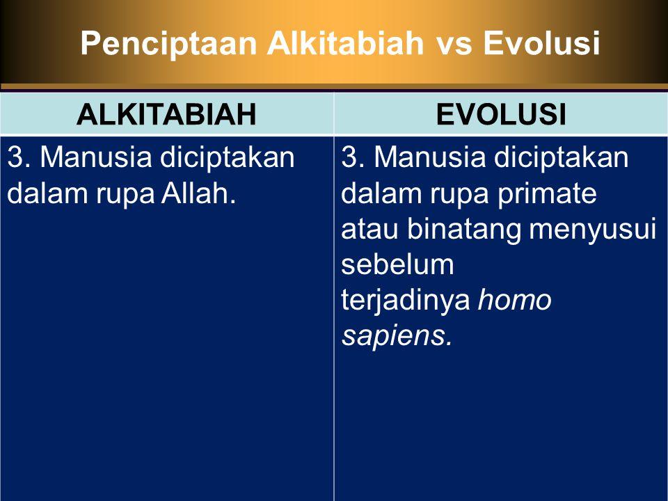 Penciptaan Alkitabiah vs Evolusi ALKITABIAHEVOLUSI 3.