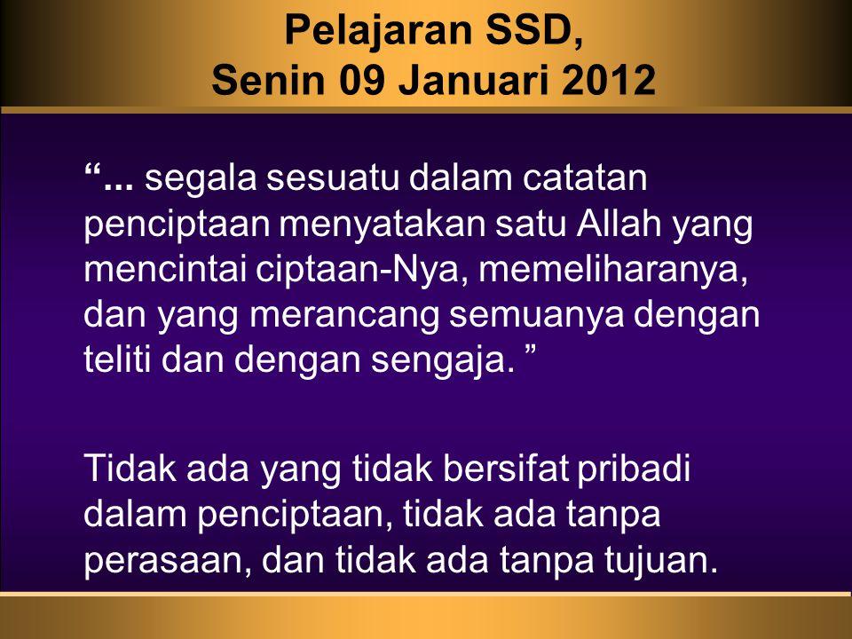 Pelajaran SSD, Senin 09 Januari 2012 ...