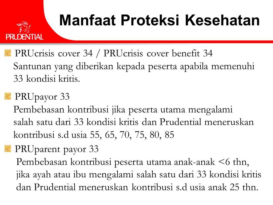 PRUcrisis cover 34 / PRUcrisis cover benefit 34 Santunan yang diberikan kepada peserta apabila memenuhi 33 kondisi kritis. PRUpayor 33 Pembebasan kont