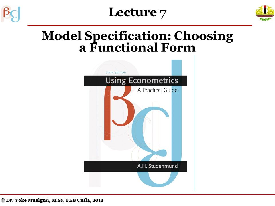 Lecture 7 Model Specification: Choosing a Functional Form © Dr.