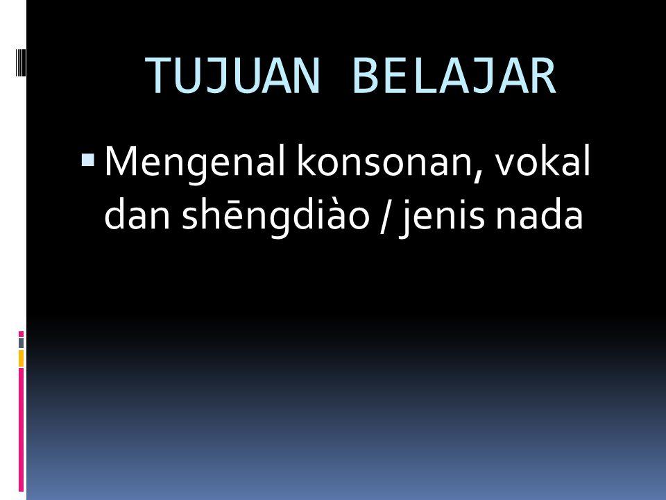 TUJUAN BELAJAR  Mengenal konsonan, vokal dan shēngdiào / jenis nada
