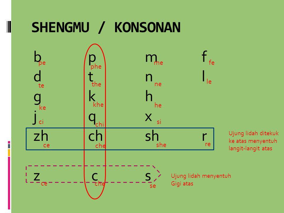 SHENGMU / KONSONAN b pmf d tnl g kh j qx zhchshr z cs