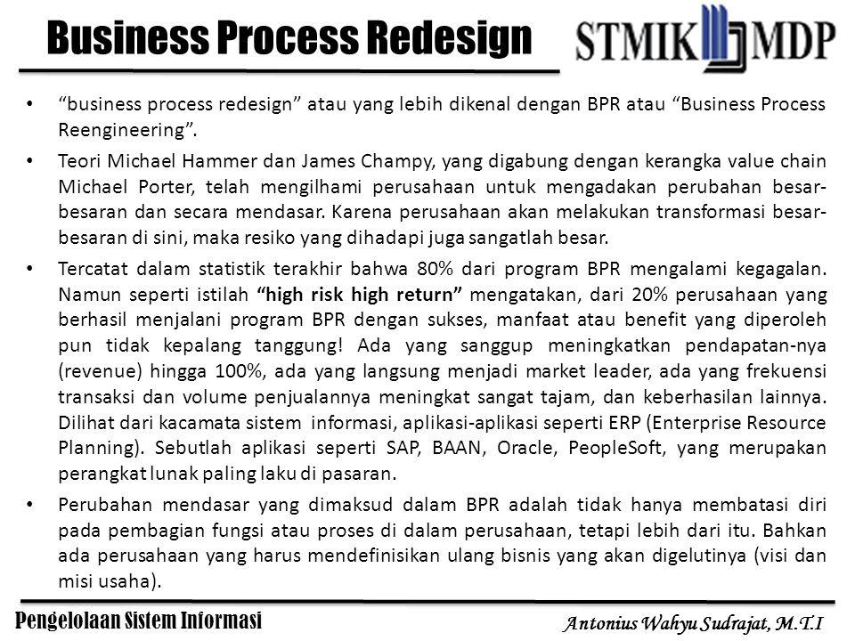 Pengelolaan Sistem Informasi Antonius Wahyu Sudrajat, M.T.I Business Network Redesign Business Network Redesign adalah suatu jenis perubahan yang mulai menjadi fenomena di abad globalisasi informasi saat ini.