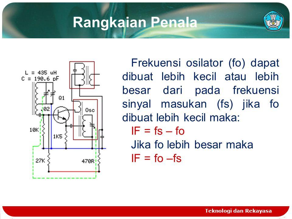 Rangkaian Penala Teknologi dan Rekayasa Frekuensi osilator (fo) dapat dibuat lebih kecil atau lebih besar dari pada frekuensi sinyal masukan (fs) jika fo dibuat lebih kecil maka: IF = fs – fo Jika fo lebih besar maka IF = fo –fs