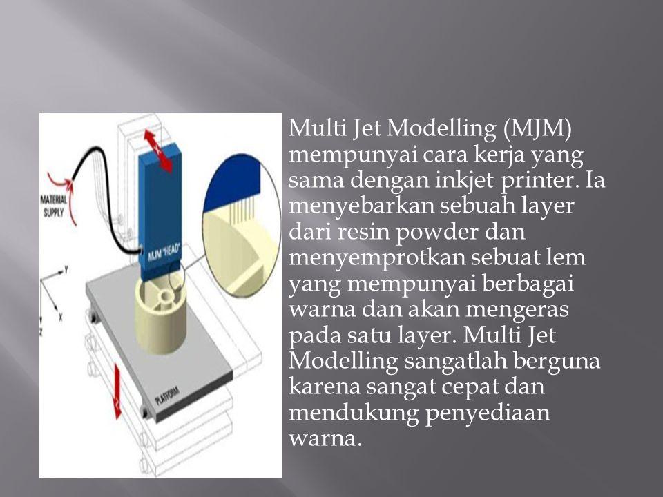 Multi Jet Modelling (MJM) mempunyai cara kerja yang sama dengan inkjet printer. Ia menyebarkan sebuah layer dari resin powder dan menyemprotkan sebuat