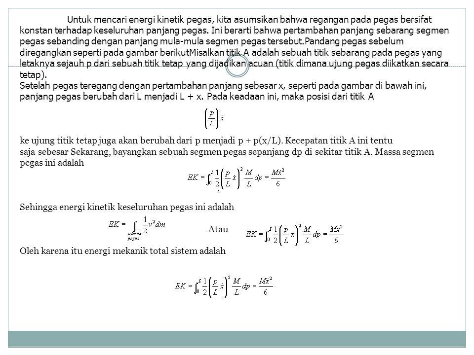 Untuk mencari energi kinetik pegas, kita asumsikan bahwa regangan pada pegas bersifat konstan terhadap keseluruhan panjang pegas.
