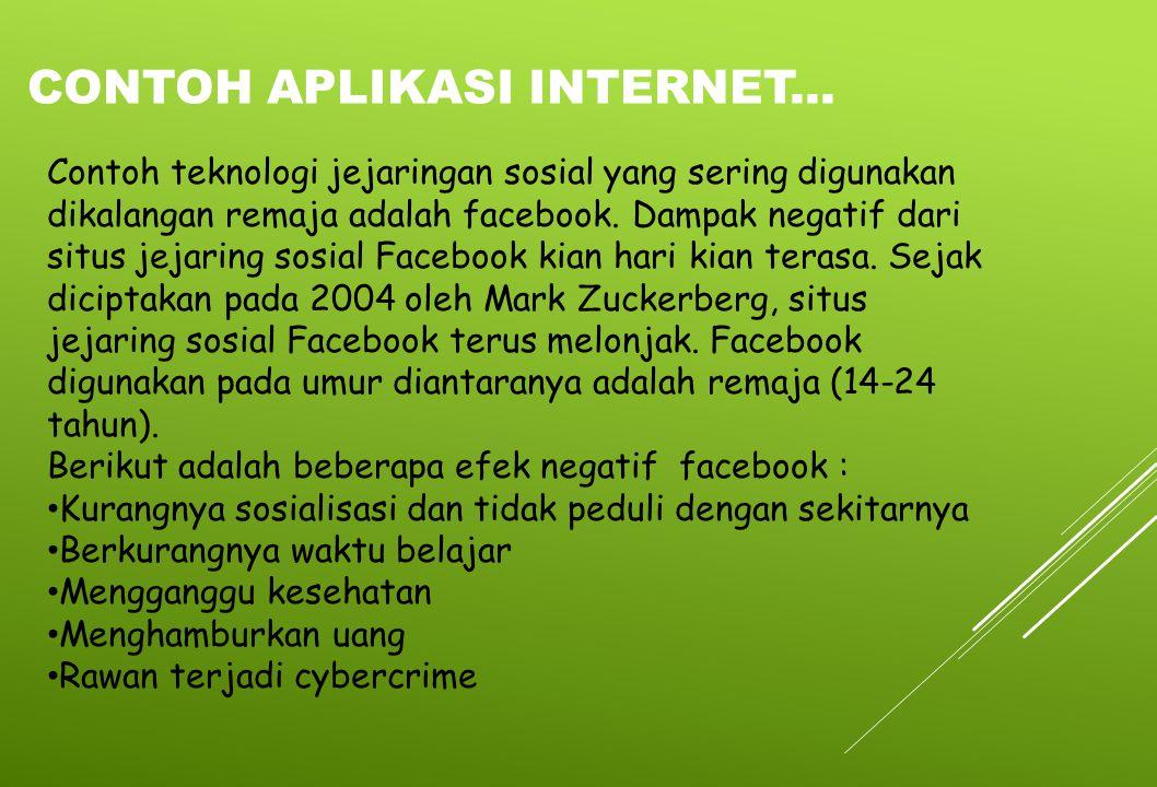 Contoh teknologi jejaringan sosial yang sering digunakan dikalangan remaja adalah facebook. Dampak negatif dari situs jejaring sosial Facebook kian ha