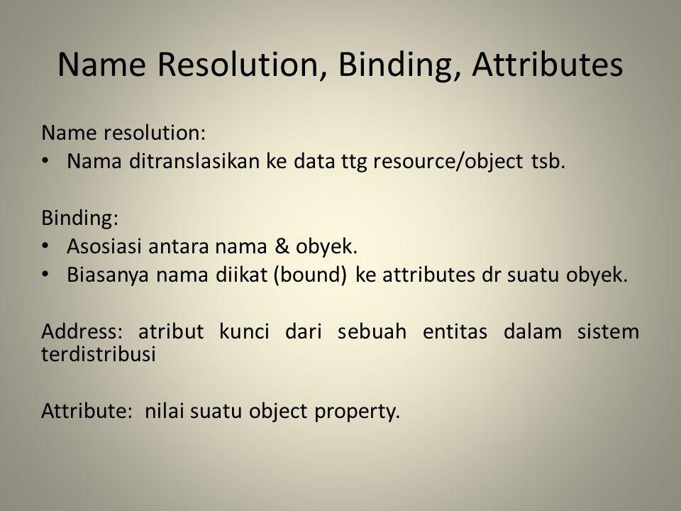 Name Resolution, Binding, Attributes Name resolution: Nama ditranslasikan ke data ttg resource/object tsb. Binding: Asosiasi antara nama & obyek. Bias