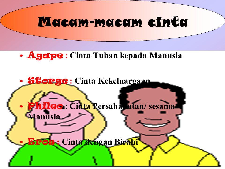 4 Macam-macam cinta Agape : Cinta Tuhan kepada Manusia Storge : Cinta Kekeluargaan Phileo : Cinta Persahabatan/ sesama Manusia Eros : Cinta dengan Birahi