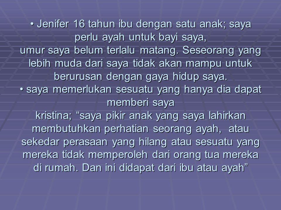 Jenifer 16 tahun ibu dengan satu anak; saya perlu ayah untuk bayi saya, umur saya belum terlalu matang.