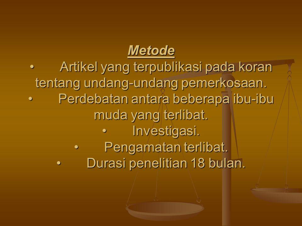 Metode Artikel yang terpublikasi pada koran tentang undang-undang pemerkosaan.